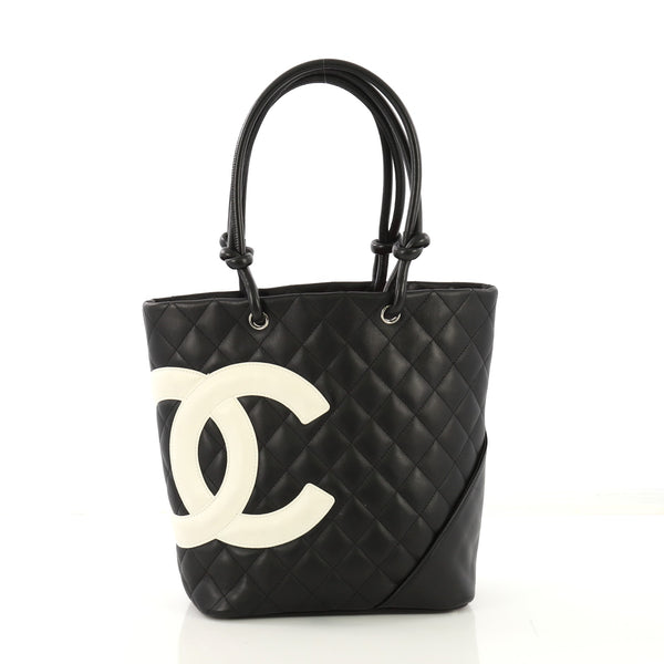 b4c2d02e81cb Chanel Cambon Tote Quilted Leather Medium Black 417009 – Rebag