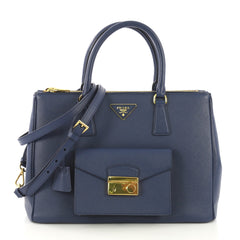 Prada Front Pocket Double Zip Lux Tote Saffiano Leather Blue 417021