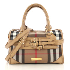 Burberry Bridle Chester Convertible Bowler Bag House Check Neutral 417061