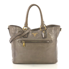 Prada Front Pocket Convertible Tote Vitello Shine Large Gray 417073