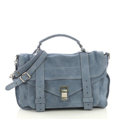 Proenza Schouler PS1 Satchel Suede Medium Blue 417131