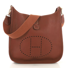 Hermes Evelyne Crossbody Gen I Clemence GM Brown 417236