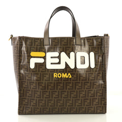 Fendi Mania Logo Shopper Tote Zucca Coated Canvas Large 417293
