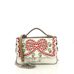 Fendi Double Baguette Embroidered Studded Leather Micro 417296