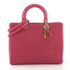 Christian Dior Lady Dior Handbag Cannage Quilt Tweed Large 417299