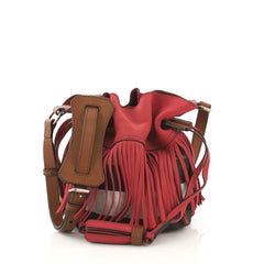 Burberry Belgrove Fringe Bucket Bag Suede and House Check 417741