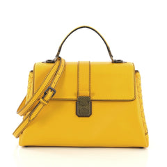 Piazza Top Handle Bag Leather with Intrecciato Detail Medium