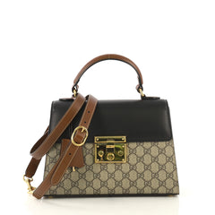 Gucci Padlock Top Handle Bag GG Coated Canvas and Leather Small