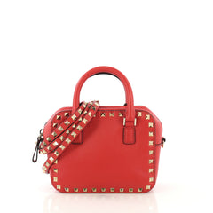 Valentino Rockstud Convertible Zip Satchel Leather Mini