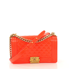 Chanel Boy Flap Bag Quilted Patent Old Medium Orange 417882