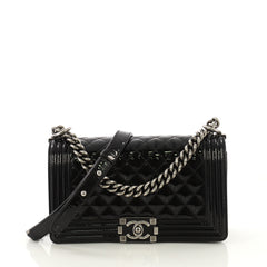 Chanel Boy Flap Bag Quilted Patent Old Medium Black 417883