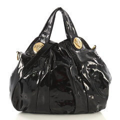 Gucci Hysteria Convertible Top Handle Bag Patent Large Black 418094