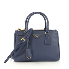 df64ce2e293a Prada Double Zip Lux Tote Saffiano Leather Small Blue 418401