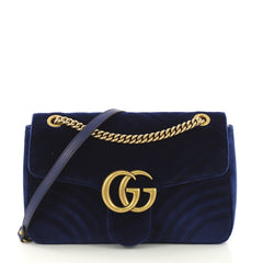 Gucci GG Marmont Flap Bag Matelasse Velvet Medium Blue 418411