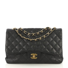 Chanel Vintage Classic Single Flap Bag Quilted Caviar Jumbo Black 418661