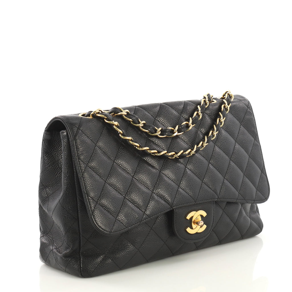 e547dd96a8dc Chanel Vintage Classic Single Flap Bag Quilted Caviar Jumbo 418661 ...