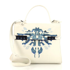 Delvaux Tempete Top Handle Bag Hand Painted Leather MM White 418681