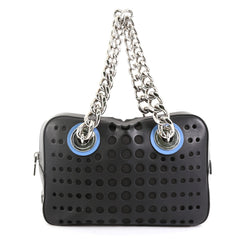 fabe5aa42e23 Prada City Fori Chain Shoulder Bag Perforated Calfskin Small