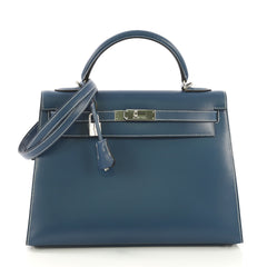 Hermes Kelly Handbag Blue Box Calf with Palladium Hardware 4189112
