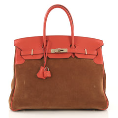 Hermes Birkin Handbag Brown Grizzly and Red Swift with 4189119
