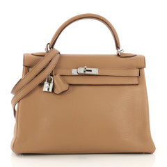 Hermes Kelly Handbag Light Togo with Palladium Hardware 32 418911
