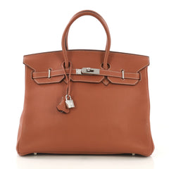 Hermes Birkin Handbag Brown Clemence with Palladium 4189121