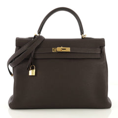 Hermes Kelly Handbag Brown Clemence with Gold Hardware 35 4189122