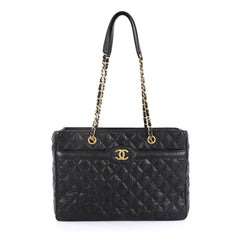 Chanel Model: Two Tone Shopping Tote Quilted Caviar Large Black 41891/40