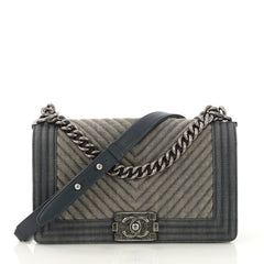 Chanel Boy Flap Bag Chevron Denim Old Medium Blue 4189143