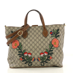 Gucci Convertible Soft Tote Embroidered GG Coated Canvas 4189149