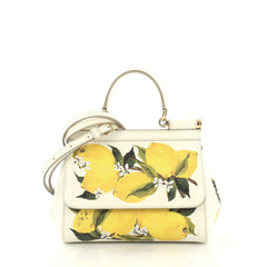 Dolce & Gabbana Miss Sicily Bag Printed Leather Small White 4189166