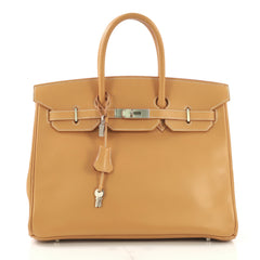 Hermes Birkin Handbag Brown Vache Natural with Brushed 418916