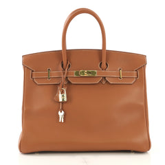 Hermes Birkin Handbag Brown Gulliver with Gold Hardware 35 418918