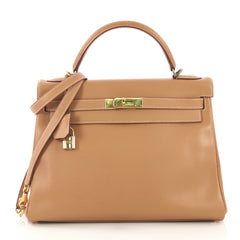46a60aa27f94 Hermes Kelly Handbag Brown Courchevel with Gold Hardware 32 419051