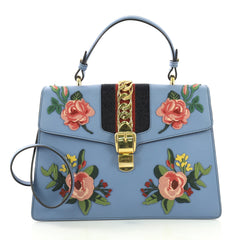Gucci Sylvie Top Handle Bag Embroidered Leather Medium Blue 419081