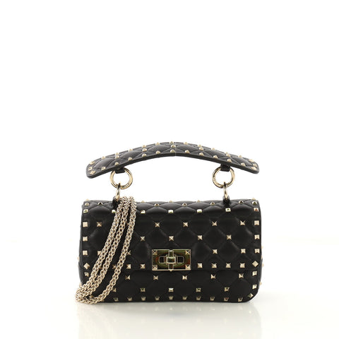 c8e81f29b506 Valentino Rockstud Spike Flap Bag Quilted Leather Small 419251 – Rebag