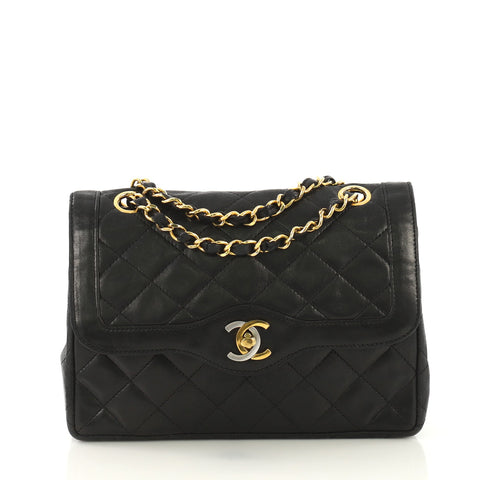 bcd373a13f2d8a Chanel Vintage Two-Tone CC Flap Bag Quilted Lambskin Small 4192910 – Rebag