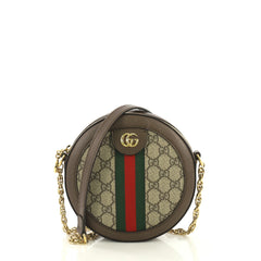 e043ea0b814 Gucci Ophidia Round Shoulder Bag GG Coated Canvas Mini Brown 419621