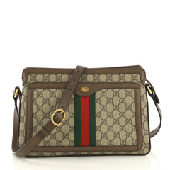 cac08dc40e8c Gucci Ophidia Zip Shoulder Bag GG Coated Canvas Medium Brown 419671