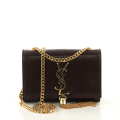 Saint Laurent Classic Monogram Tassel Crossbody Bag Python purple 419721