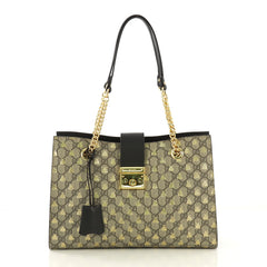 8c7977f9091 Gucci Padlock Chain Tote Printed GG Coated Canvas Medium 419891
