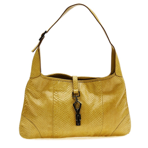 2134fd59354530 Buy Gucci Jackie Handbag Python Medium Yellow 41901 – Rebag
