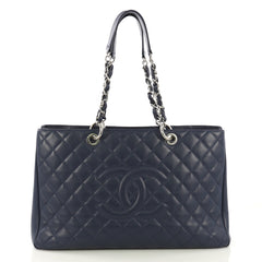 Chanel Model: Grand Shopping Tote Quilted Caviar XL Blue 42001/1