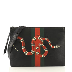 Gucci Web and Snake Messenger Bag Printed Leather Large 420081