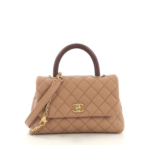 e885f11d81574f Chanel Coco Top Handle Bag Quilted Caviar with Lizard Mini 420131 – Rebag