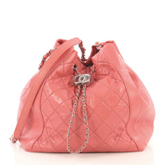 Chanel Bi Vintage Drawstring Bucket Bag Quilted Crumpled Calfskin Medium