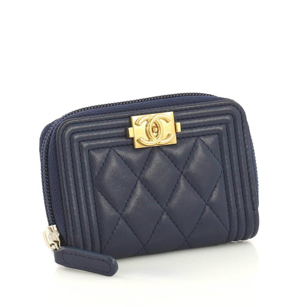 2077cba850c502 Chanel Boy Zip Coin Purse Quilted Lambskin Small Blue 4203313 – Rebag