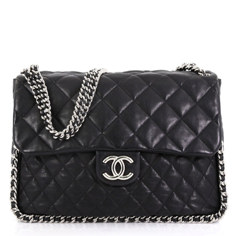 b345652b3f0009 Chanel Chain Around Flap Bag Quilted Leather Maxi Black 420422 – Rebag