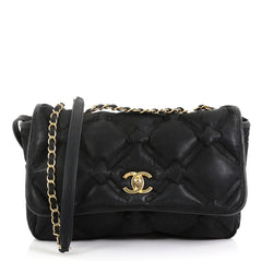 Chanel Model: Chesterfield Flap Bag Quilted Iridescent Calfskin Medium Black 42042/3
