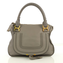 Chloe Marcie Satchel Leather Medium Gray 420521